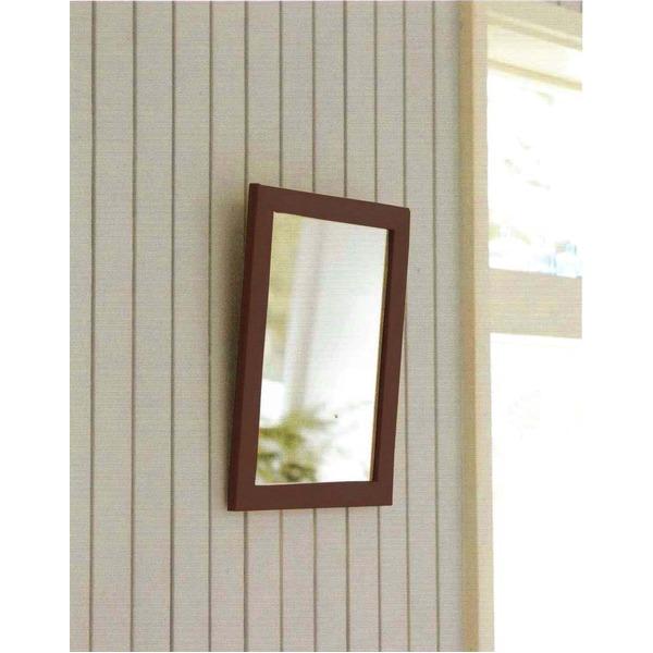 木製スタンド付きミラー 【サイズ 約247×298×28~250mm】 日本製 ブラウン