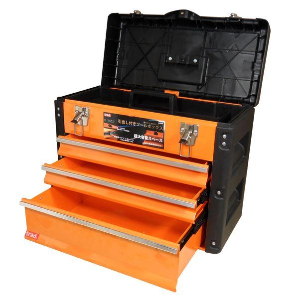 TRAD ツールチェスト/ツールボックス 【4段】 強化PP・スチール製 連動式ロック構造 TRD-TC4 オレンジ/黒 〔DIY用品/大工道具〕