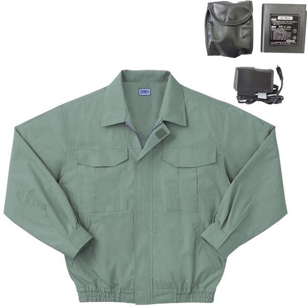 空調服製 綿薄手ワーク空調服(KU90550) リチウムバッテリー(LIPRO2)セット ファンカラー:グレー 【カラー:モスグリーン サイズ:4L】