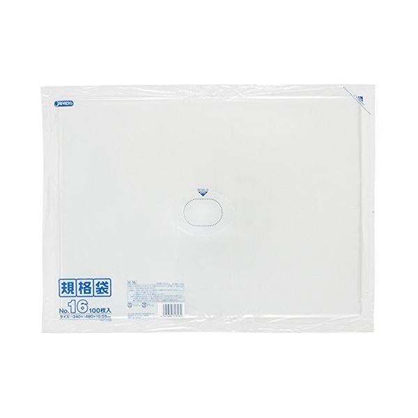 規格袋 16号100枚入03LLD透明 K16 【(15袋×5ケース)合計75袋セット】 38-461