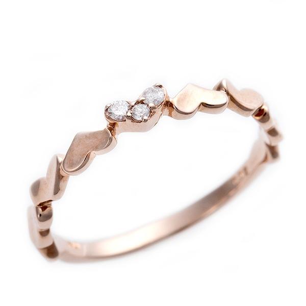 ダイヤモンド ピンキーリング K10 ピンクゴールド ダイヤ0.03ct ハートモチーフ 3号 指輪