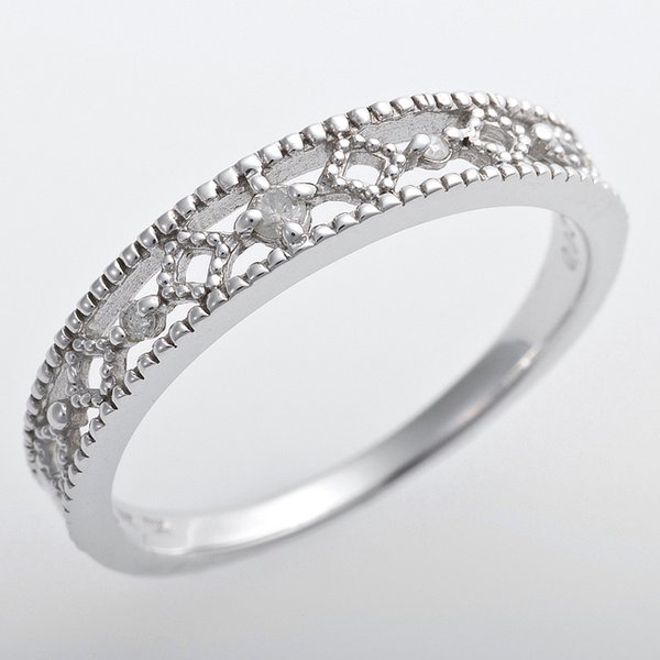 K10ホワイトゴールド 天然ダイヤリング 指輪 ピンキーリング ダイヤモンドリング 0.02ct 1号 アンティーク調 プリンセス