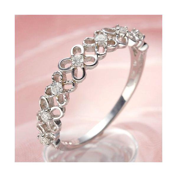 K10WGダイヤリング 指輪 フラワーリング 9号