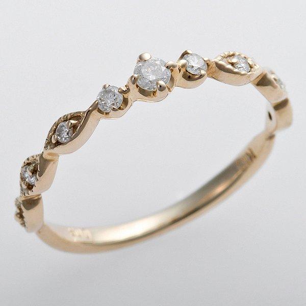 K10イエローゴールド 天然ダイヤリング 指輪 ピンキーリング ダイヤモンドリング 0.09ct 4.5号 アンティーク調 プリンセス