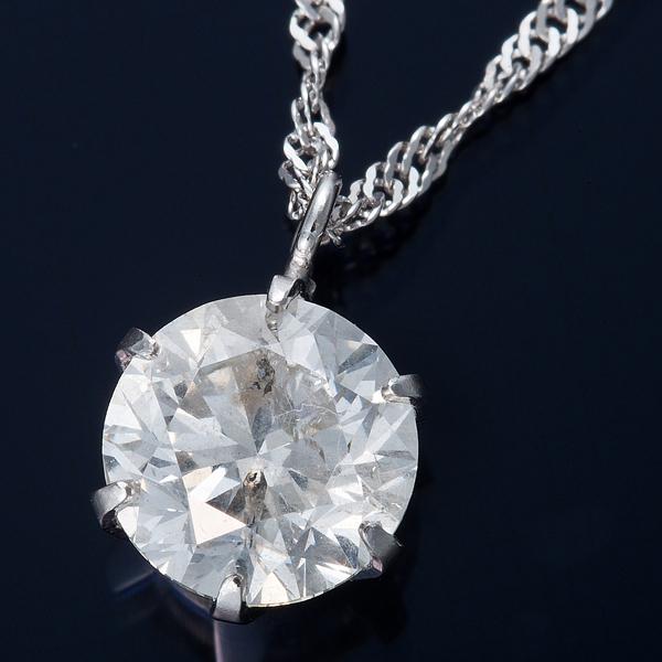 K18WG 1ctダイヤモンドペンダント/ネックレス スクリューチェーン(鑑定書付き)