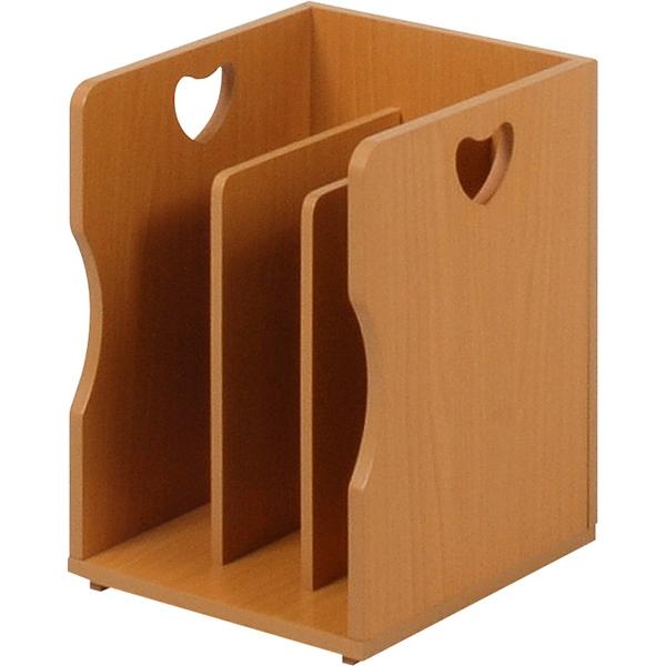 【ブックスタンド】 ハートのデザインが可愛いナチュラルなブックスタンド仕切りが付いて本・雑誌をしっかり収納!重ねて使えます 【4個組】 MM-7205NA