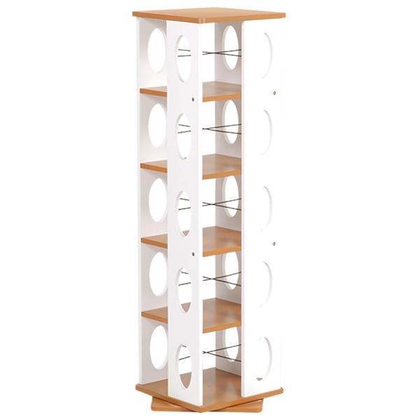 【回転ラック】 省スペースなのに大容量の本やCDを収納できます、タワー型で360度回転するので取りやすい MUD-7180BR 【送料無料】