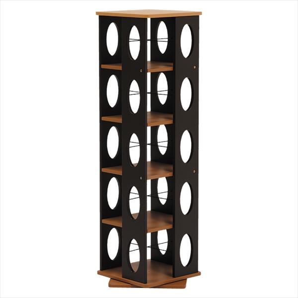 【回転ラック】 省スペースなのに大容量の本やCDを収納できます、タワー型で360度回転するので取りやすい MUD-7181BR 【送料無料】