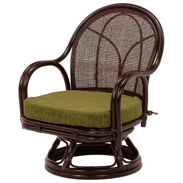 【回転座椅子】 腰が痛い方でも大丈夫!回転式、肘付きで立ち座りが楽に行えるラタン回転座椅子 【2個組】 RZ-342DBR 【送料無料】