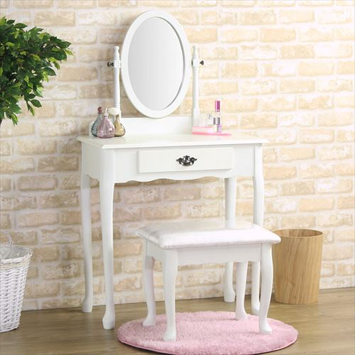 ドレッサー 姫系 スツール付き 椅子付き アンティーク 木製 アイボリー ホワイト 白 化粧台 鏡台 一面ドレッサー 1面ドレッサー 鏡 ミラー 引き出し おしゃれ 人気 送料無料