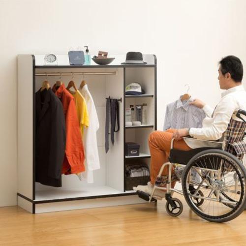 車椅子生活者の方の使いやすさを配慮した家具 ウィズミーナ ワードローブ クローゼット ハンガーラック 幅116cm×奥行き44cm×高さ130cm (ホワイト ブラック)  (ナチュラル / ブラック)