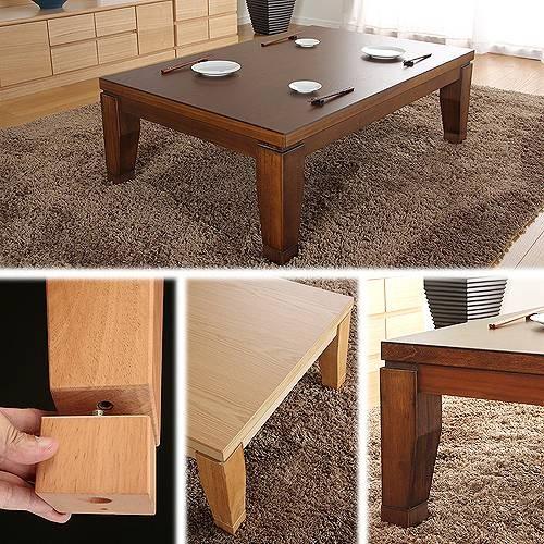 モダンリビングこたつ ディレット 120×80cm こたつ テーブル 長方形 日本製 国産継ぎ脚ローテーブル 【APIs】