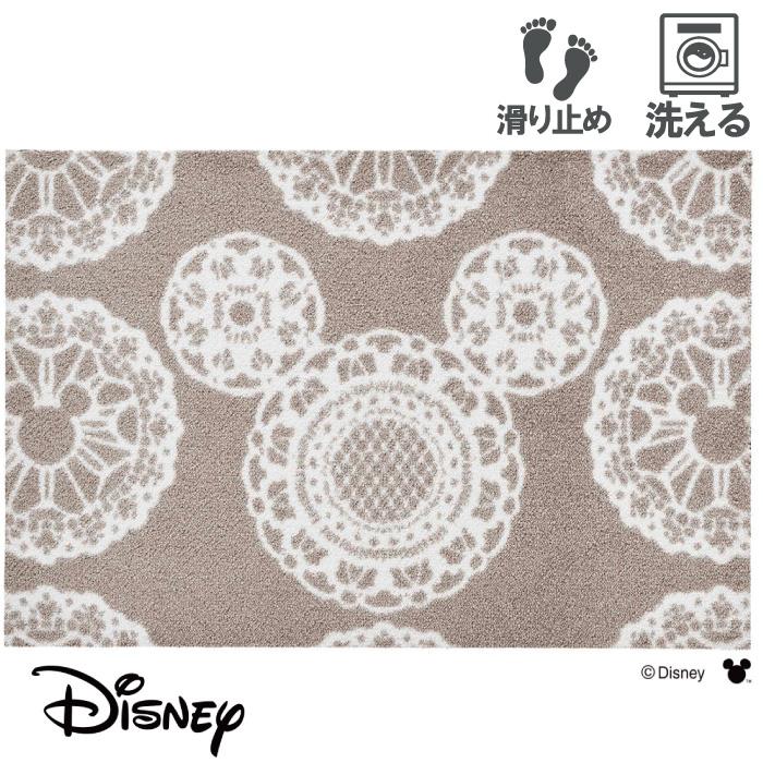 玄関マット ディズニー Mickey/ミッキー レース グレージュ 50 x 75 おしゃれ 滑り止め 室内 洗える