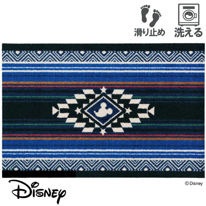 玄関マット ディズニー Mickey/ミッキー キリム ブルー 60 x 90 おしゃれ 滑り止め 室内 洗える