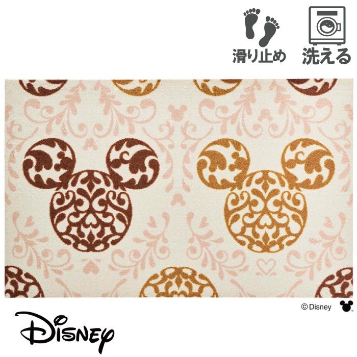 玄関マット ディズニー Mickey/ミッキー ロココ調 ブラウン 75 x 120 おしゃれ 滑り止め 室内 洗える