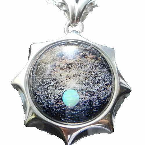 1点限定 Silver925&宇宙ガラスネックレス 宇宙ガラス 宇宙ガラスネックレス 宇宙ネックレス ガラスネックレス オリジナル メンズアクセサリー 日本製 ハンドメイド【auktn】【送料無料】
