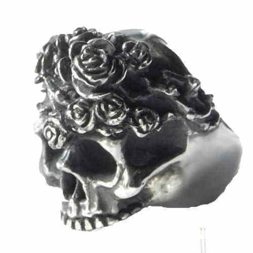 スカルリング Rose of Pain( ローズオブペイン )シルバーリング ドクロ 髑髏リング メンズアクセサリー ハンドメイド 日本製 ブランド<銀燭> 【auktn】<送料無料>