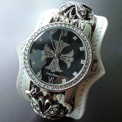 レザーブレスウォチ メンズ蛇革腕時計 パイソン腕時計 レザーウォッチ パイソン ジルコニア 専用ボックス付き 蛇革時計 日本製 ハンドメイドブランド<Deep Zone>