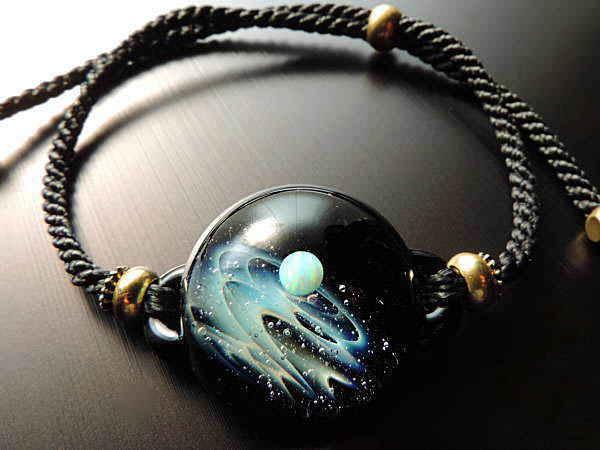 1点物、宇宙ガラスブレスレット メンズ 宇宙ブレスレット 宇宙ガラス メンズブレスレット ブレスレット レザーブレスレット 日本製 ハンドメイド ブランド<Natural Glass>【auktn】 送料無料