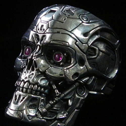 Terminator skull ring / terminator 4 t-600 ended calling / ring / docroling / size no. 17-21 / skull ring and silver accessory / handmade / videos / made in Japan / brand [J.T.S]