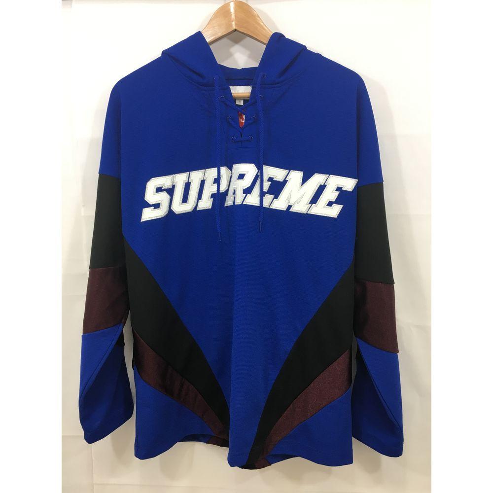 【中古】【Supreme/シュプリーム】Hooded Hockey Jersey[表記サイズ:S ラグランサイズ/青/メンズ]【併売:000I】【上越店】
