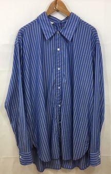 【中古】【UNUSED/アンユーズド】バックボタンストライプシャツ[表記サイズ:2(M)/BLUE/メンズ]【併売:001W】【上越店】