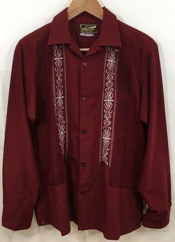 【中古】【Guayabera/グアジャベーラ】キューバシャツ[表記サイズ:36/赤/メンズ]【併売:007V】【上越店】