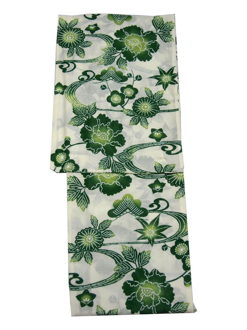 【新作・綿絽】浜松レトロゆかた・浴衣 【きなりに緑・草花】