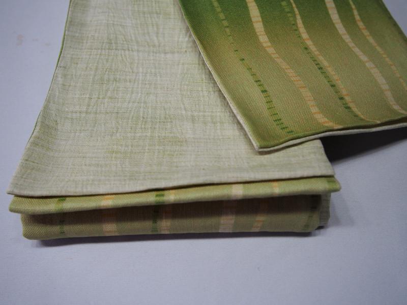 【本麻】ゆかた帯・浴衣帯・小袋帯【よろけ縞・緑】
