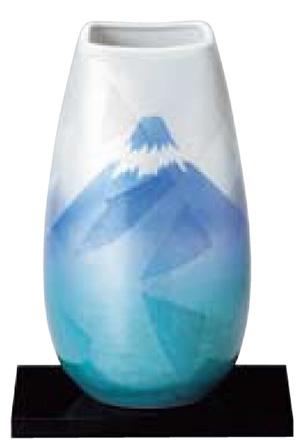 【送料無料】花瓶(台付)銀彩富士【富士山】