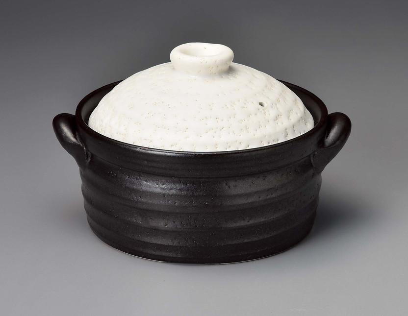 【送料無料】IHで炊飯グルメ萬古焼 白釉メタルIH 2合炊きご飯釜 17736【こはん鍋/ごはん釜】