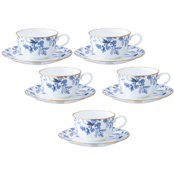 【送料無料】Noritake(ノリタケ) ブルーソレンティーノ ティー・コーヒー碗皿セット(5客) F59387A/4562