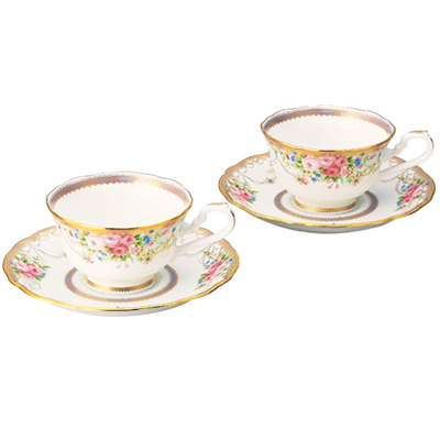 【送料無料】Noritake(ノリタケ) アフロディーテ ティー・コーヒー碗皿ペアセット P50940/4691