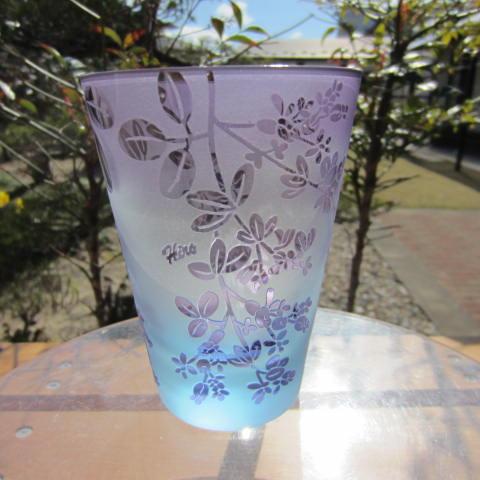 【送料無料】【贈り物ギフト】HIROガラス直タンブラー(ブルー金紫) 仙台萩