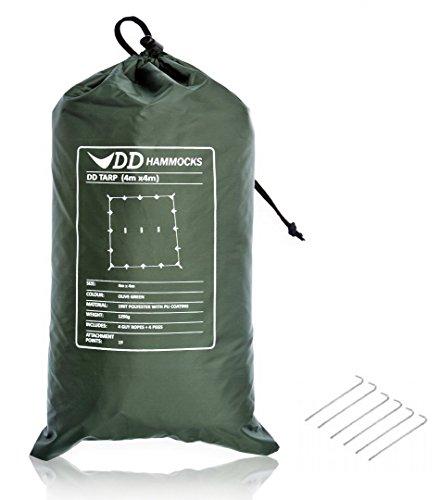 タープ 4m 大型 DD Tarp 4×4 レクタ 防水 アウトドア キャンプ DD Hammocks Olive green Tent Pegs セット 送料無料