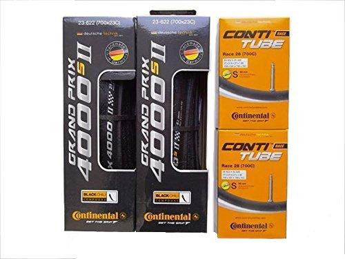 自転車用 タイヤとチューブ2本セット Continental コンチネンタル GRAND PRIX 4000 S II グランプリ4000S2 700×25C-仏式60mm 送料無料