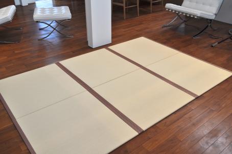 4枚セット/置き畳/ユニット畳/フローリング畳/セキスイ/目積/縁なし/ルーミー45/アイボリー/国産/やわらかクッション付