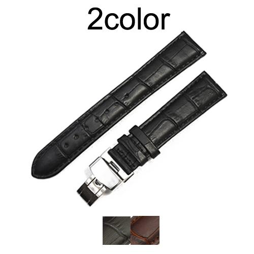 「ブルガリ(BVLGARI)向け」輸入王オリジナル ソロテンポ 用 ベルト Dバックル付 型押しクロコ メンズ/レディース 腕時計用 社外品 ST29 ST35 ST37 ST42 など