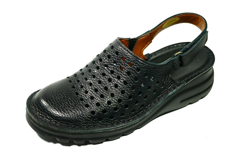 サンダル バックバンド サボ パンチングブーツ 本革痛くない靴 疲れない靴 黒 本革 レディース 靴 パンチング ショート ぺたんこyuriko matsumoto 送料無料