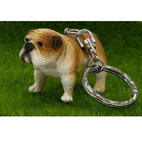 リアルなタイプのイングリッシュブルドックのキーホルダーです ブルドックキーホルダー 犬 イングリッシュブルドック キーホルダー 鍵 飾り 送料無料 セール商品 可愛い 持ち歩く アニマル セットアップ