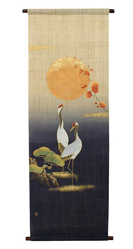 迎春タペストリー・夫婦鶴(お正月飾り)/ 和モダン タペストリー/12月初旬入荷予定