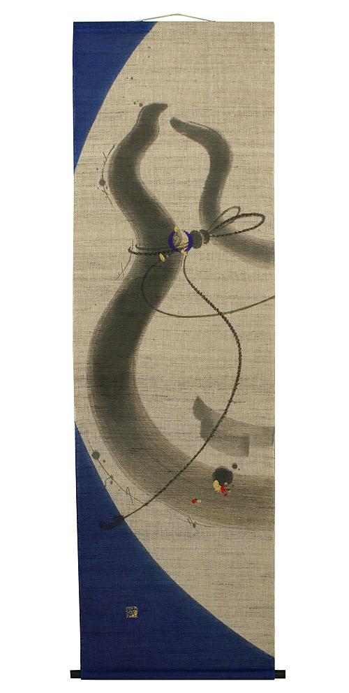 タペストリー・瓢箪図(モダン掛け軸)手織り麻(タペストリー棒付)