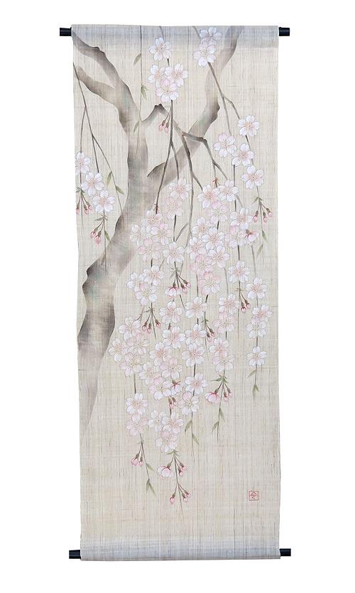 手描き友禅タペストリー:枝垂れ桜(受注製作2週間)