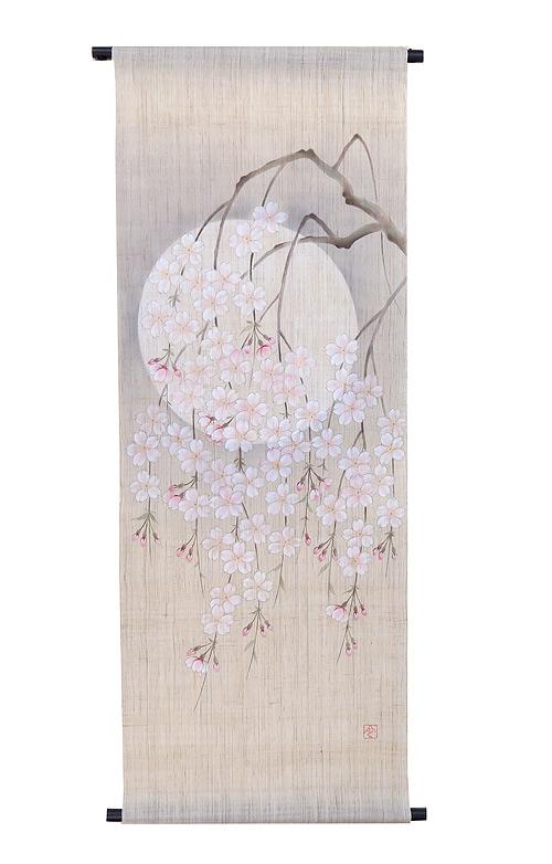 手描き友禅タペストリー:宵桜(受注製作2週間)