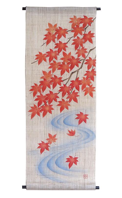 手描き友禅タペストリー:流水に紅葉/ 和モダン タペストリー (秋 タペストリー)