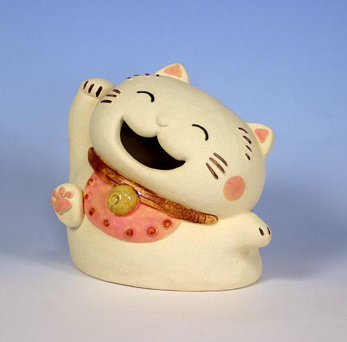 いぇ~い招き猫/座布団付き