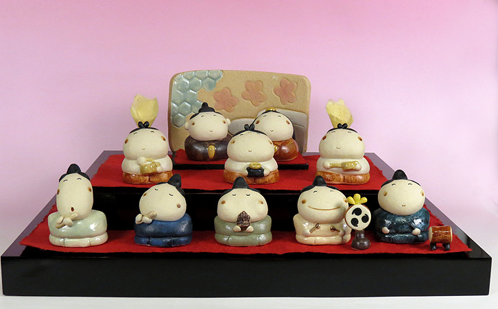 雛人形 ひな祭り /ふんわり雛三段飾り(陶雛人形)/メーカー取り寄せ品