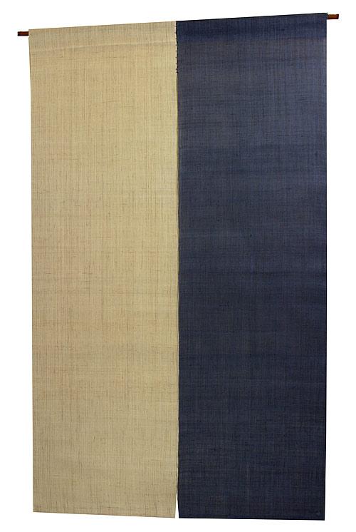 2色麻のれん・紺藍色(手織り和風麻暖簾) ●サイズオーダー可 のれん棒別売り