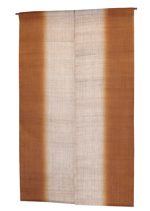 のれん 麻:縦染丁子色(手織り和風麻暖簾) ●サイズオーダー可/のれん棒別売り