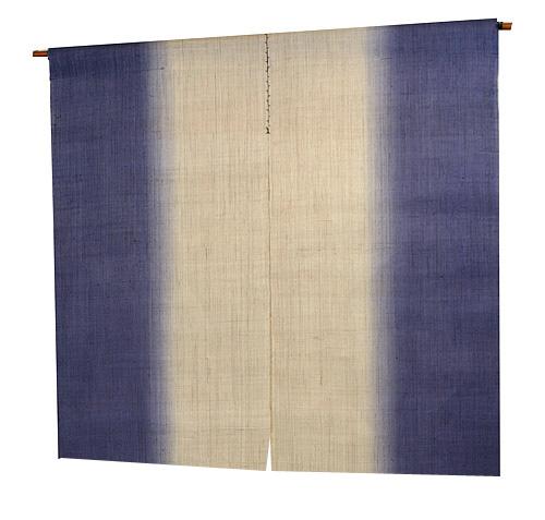 縦染麻のれん:紺藍(手織り本麻暖簾)100cm丈 のれん棒別売り